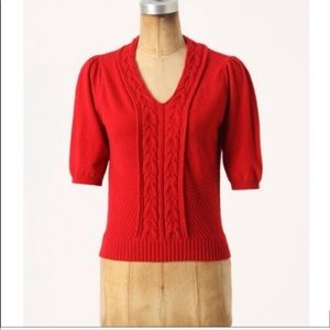 Anthropologie Moth Thames red short sleeve sweater